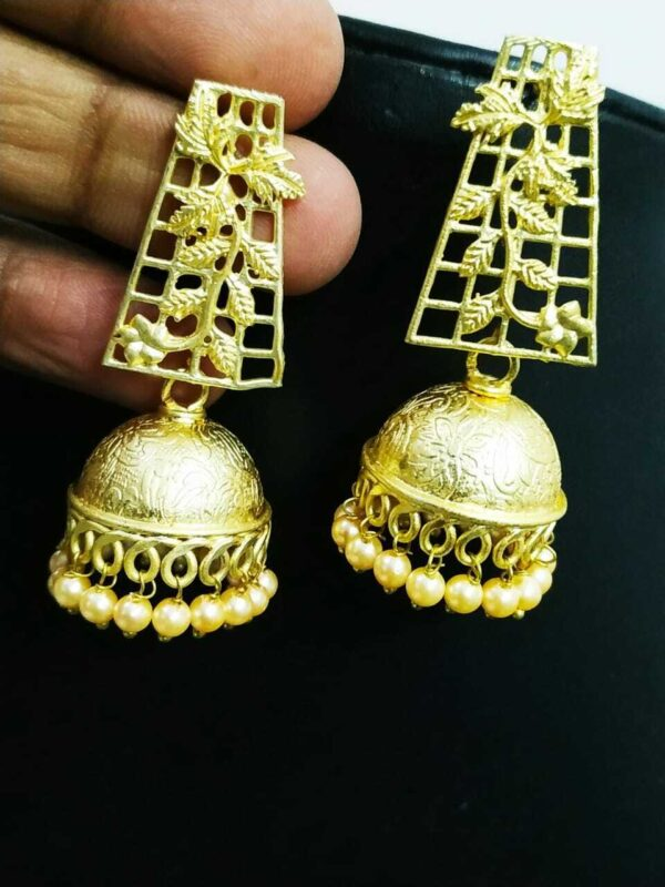 Traditional Bollywood Golden Leaf Pearl Oxidized Jhumki Earrings Drop / Dongle