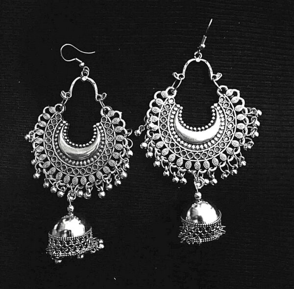 Traditional Indian Bollywood Boho Afgani Tribal Silver Plated Oxidized Earrings