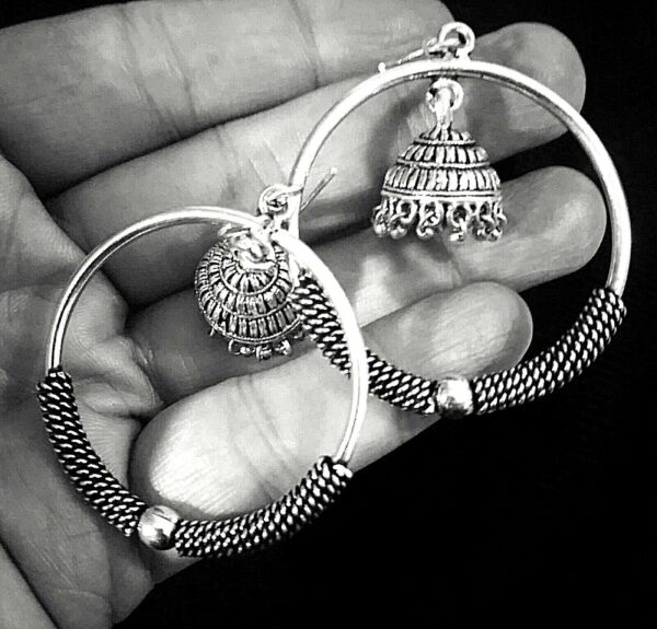 Indian Big Size Round German Silver Plated Oxidized Bollywood Earrings