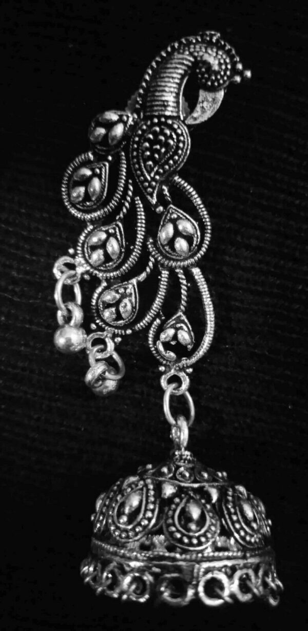 Bollywood Traditional Long Indian Peacock German Silver Plated Oxidized Earrings