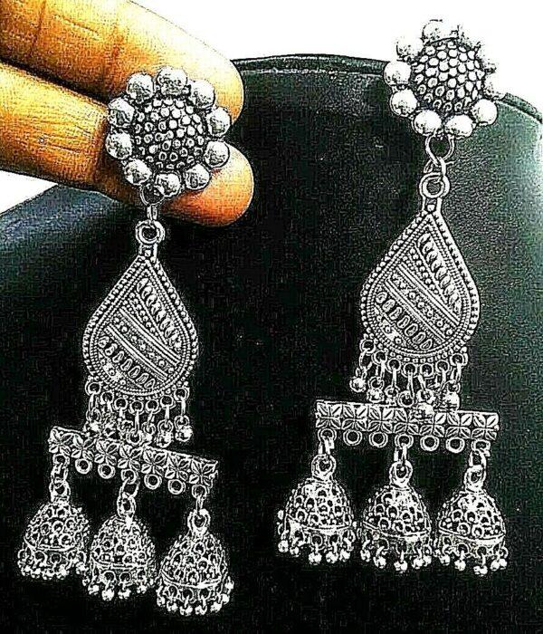 Indian Traditional Triple Layer Silver Oxidized Kashmiri Jhumka Jhumki Earrings