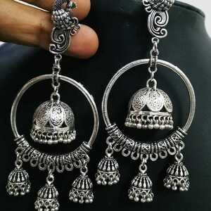 Peacock Bollywood Silver Plated Oxidized Jhumki Earrings For Women Round Shape