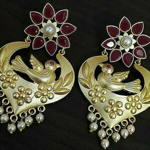 Pearl Bird Traditional Bollywood Gold Plated Oxidized Jhumki Earrings