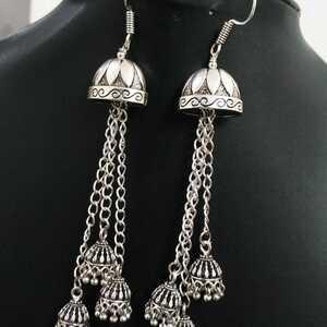 Oxidized Silver Plated Hook Drop Big Jumka Jhumki Earrings Jewelry women