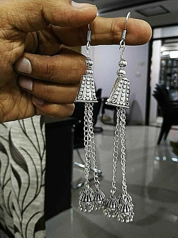 Traditional Bollywood Silver Plated Long Hook Oxidized Jhumki Earrings