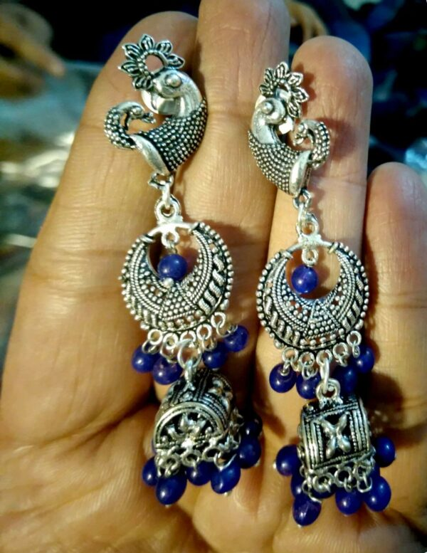 Indian Blue Beads Earrings German Silver Plated Oxidized Bollywood Traditional