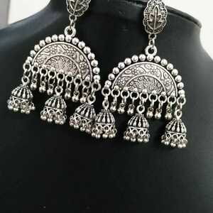 India Traditional Silver Oxidized Bollywood Fashion Jewelry Drop Earrings jhumka