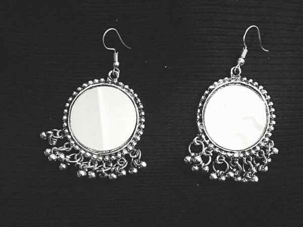 Indian Mirro Earrings German Silver Plated Oxidized Bollywood Traditional