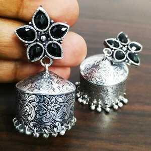 Vintage Gypsy Oxidized Black / Silver Traditional Jhumka Jhumki Earrings Jewelry