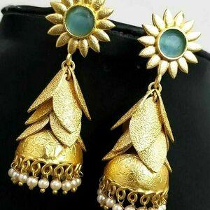 Cubic Zircon Stone Bollywood Golden Plated Oxidized Jhumki Earrings Wedding