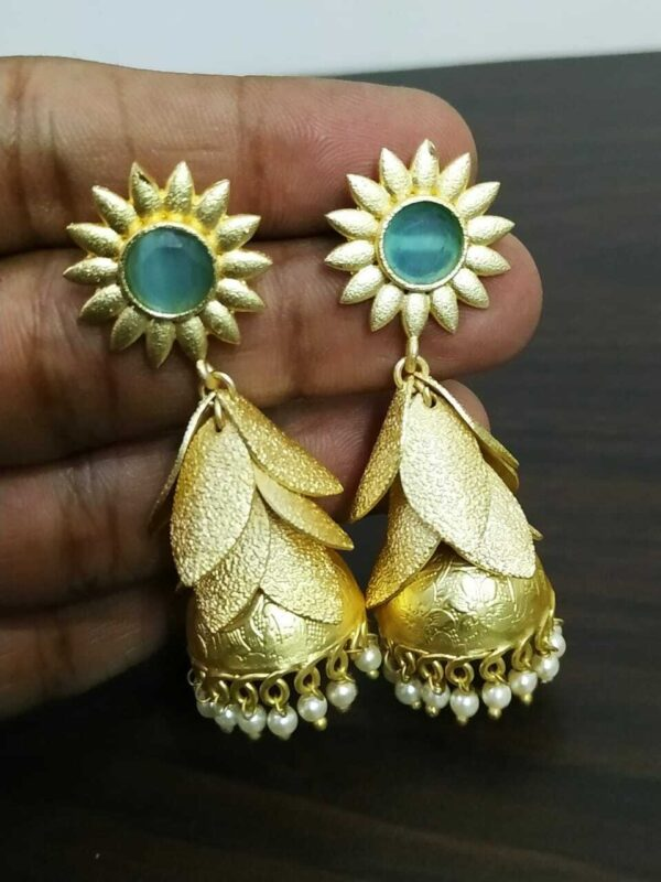 Cubic Zircon Stone Bollywood Golden Plated Oxidized Jhumki Earrings Wedding