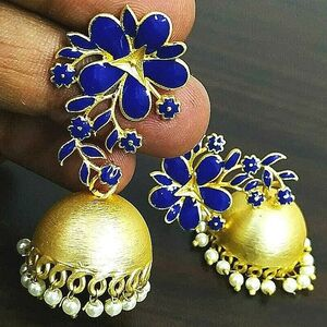 Blue Panted Bollywood Gold Plated Oxidized Jhumki Earrings White Pearl Beads