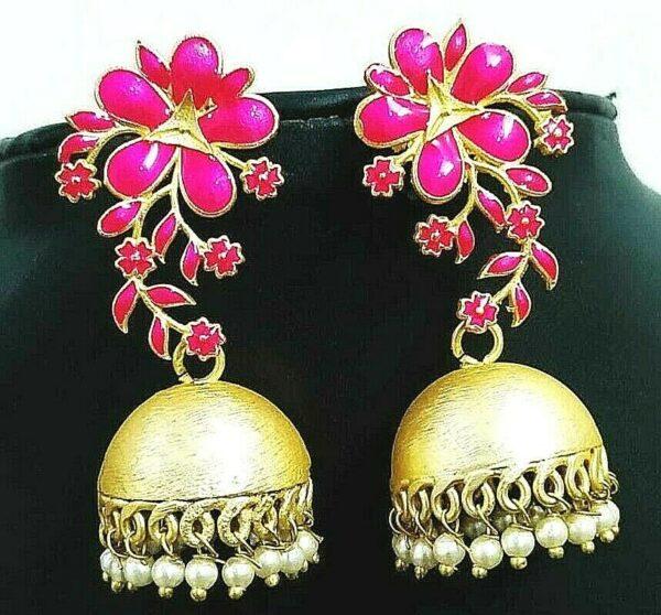 Magenta Zircon Stone Gold Plated Oxidized Jhumki Earrings Drop / Dongle Gift