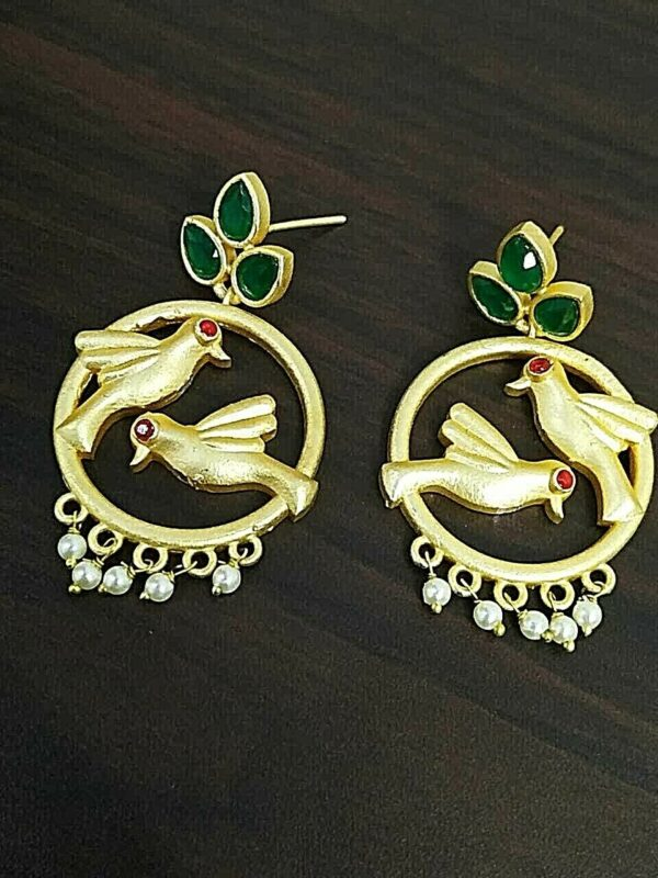 Green Stone White Pearl Golden Plated Oxidized Jhumki Earrings Drop / Dongle