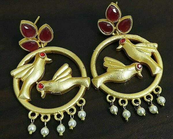 Gift Red Stone Gold Plated Oxidized Jhumki Earrings Drop / Dongle White Pearl