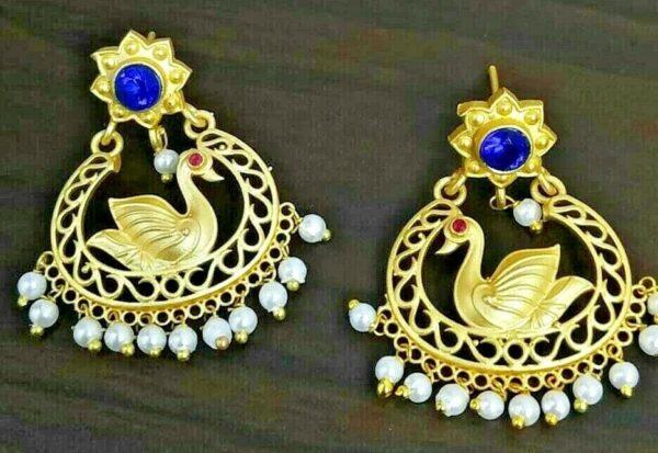 Blue Zircon Swan Bollywood Oxidized Jhumki Earrings White Pearls wedding gift