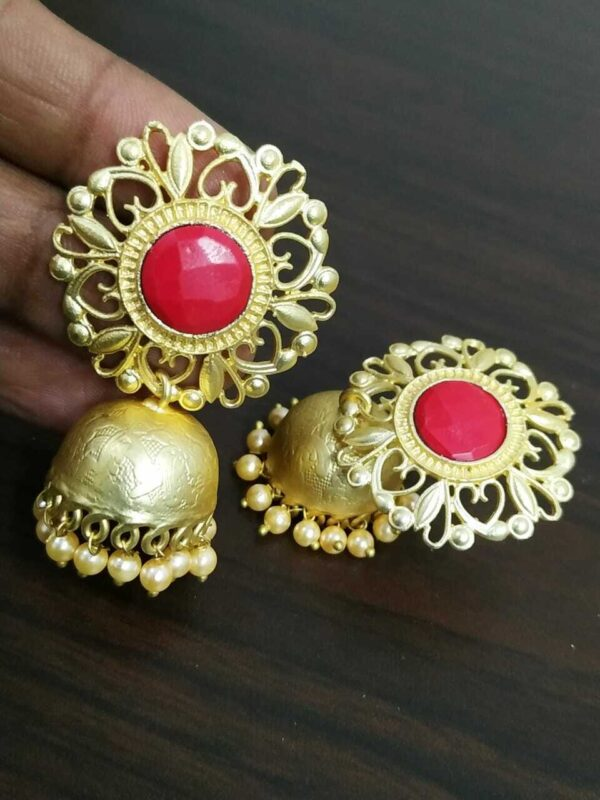 Stone With White Pearl Bollywood Gold Plated Oxidised Jhumki Earrings