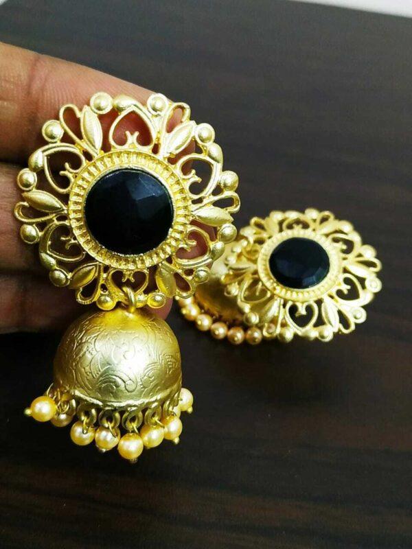 Black Cubic Zircon Gold Plated Oxidised Jhumki Earrings Drop / Dongle Best Gift