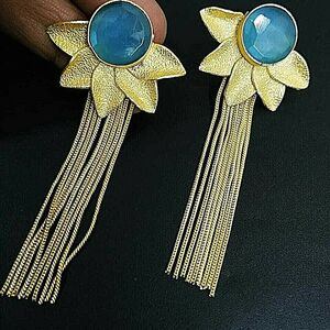 Gold Plated Blue Zirconia Flower Long Oxidized Jhumki Earrings Drop / Dongle