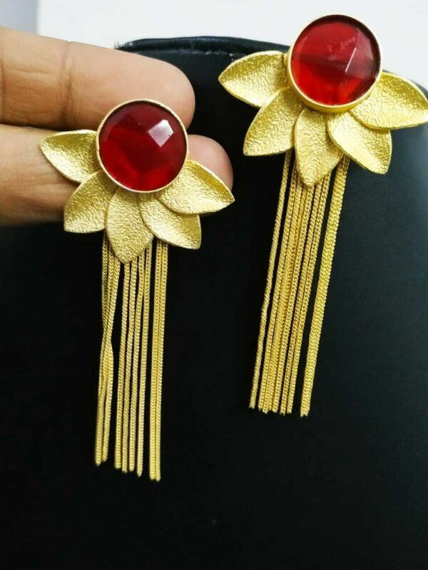 Red Cubic Stone Gold Plated Oxidized Jhumki Earrings Drop / Dongle Best Gift