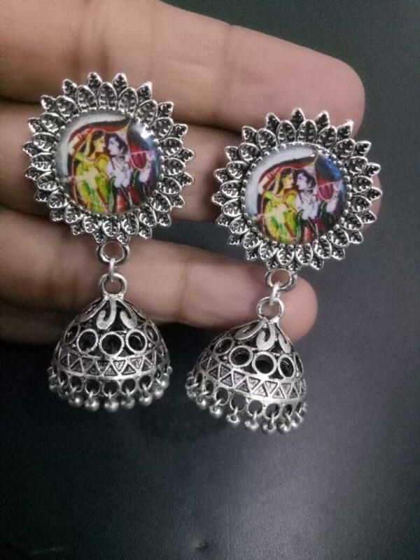 Silver Oxidized artistic stone Women Teen women Girls Dangler Indian Earrings