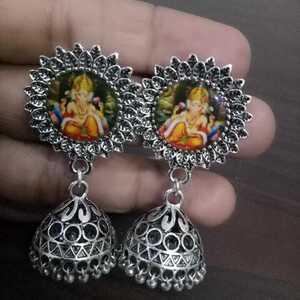 Oxidized Silver Jewelry Ganesh Earrings Statement Trendy Afghan Style Stud Boho