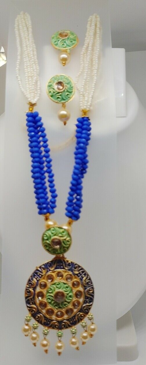 Green Indian Long Necklace Set Gold Plated Bridal Pearl Mala Set Blue -D17