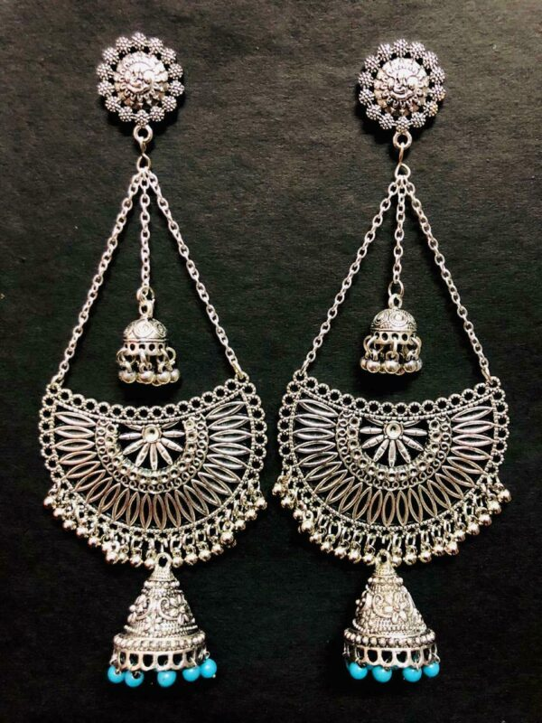 Silver Plated Sky Blue Beads Ethnic Long Earrings Indian Style Handmade Oxidized