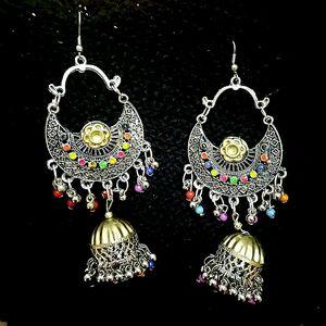 Indian Mugal Dual Tone German Silver Oxidized Earrings Bollywood Traditional