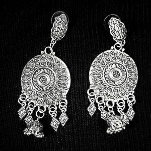 Indian Boho Tribal Afgani German Silver Plated Oxidized Earrings
