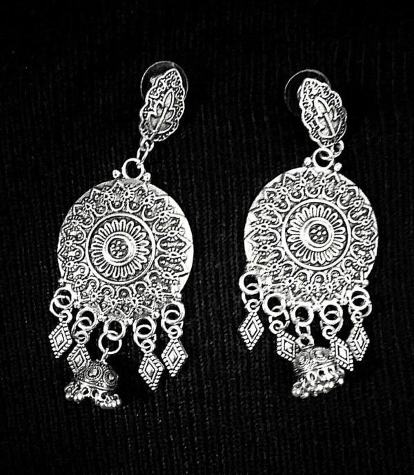 Indian Boho Tribal Afgani German Silver Plated Oxidized Earrings
