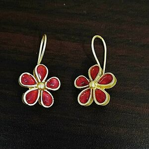 Traditional Bollywood Gold Plated Oxidized Jhumki Red Flower Earring Drop Dongle