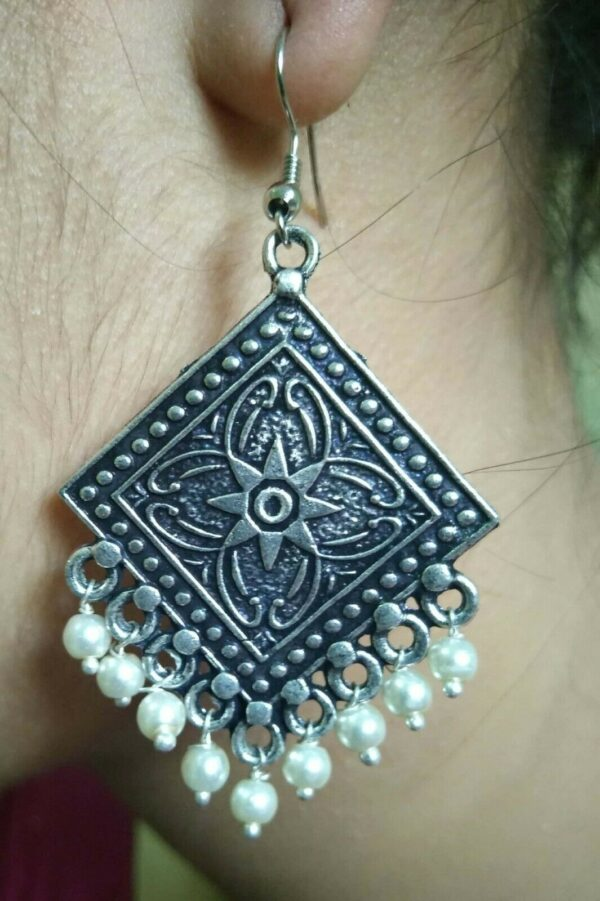 Pearl Style Indian Earrings antique Silver Plated Oxidized Bollywood Traditional