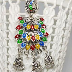 Ethnic Earrings Oxidized Silver Plated Handmade jhumka jhumki For women Multi...