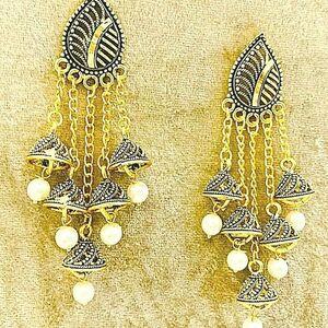 Bollywood Gold Plated White Pearl Oxidized Mugal Jhumka Jhumki Earrings