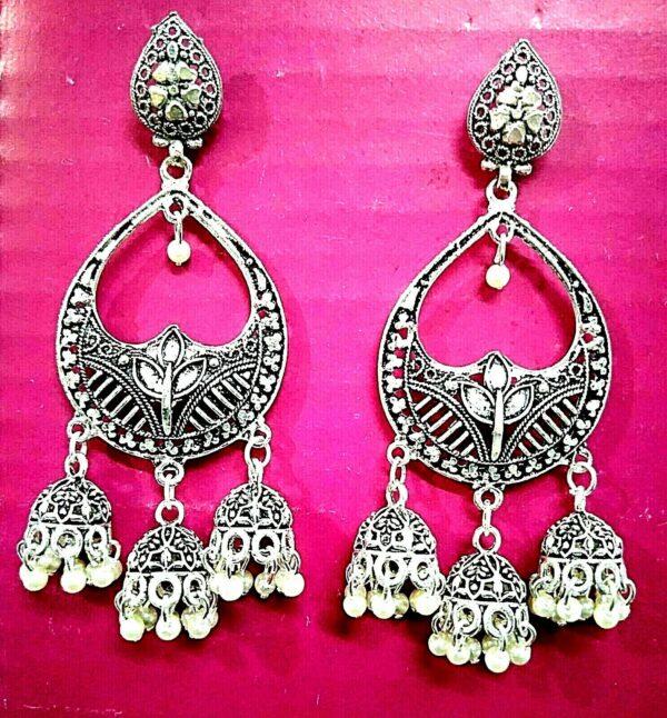 Jhumka Earrings Oxidized Silver Plated Kuchi Tribal Gypsy Boho Fashion Jewelry