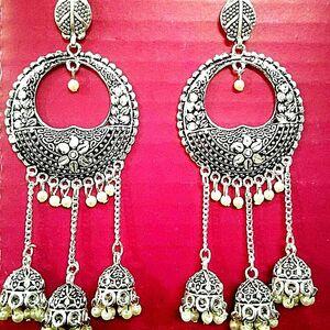Bollywood Traditional Indian Jhumki Mugal Silver Plated EarringOxidized Kashmiri