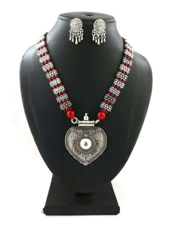 Bollywood Indian Traditional Ethnic Silver Oxidized Plated Necklace Mughal R1