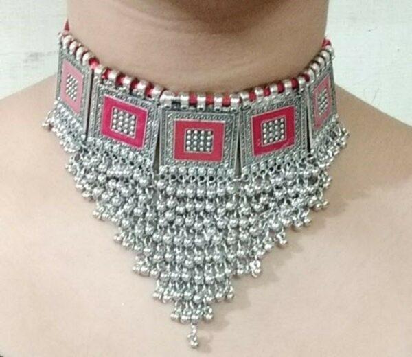 Boho Necklace Tribal Vintage Red Gypsy Kuchi Ethnic Statement Fashion Jewelry
