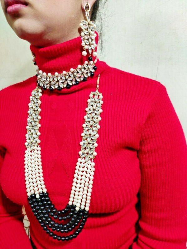Indian Pakistani Kundan Pearl Rani Haar Necklace Set For Women Fashion Jewelry