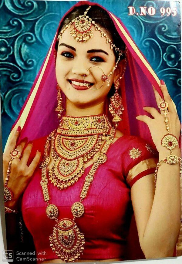Indian Bollywood Ethnic Fashion Wedding Bridal Gold Plated Rani Haar Jewelry Set