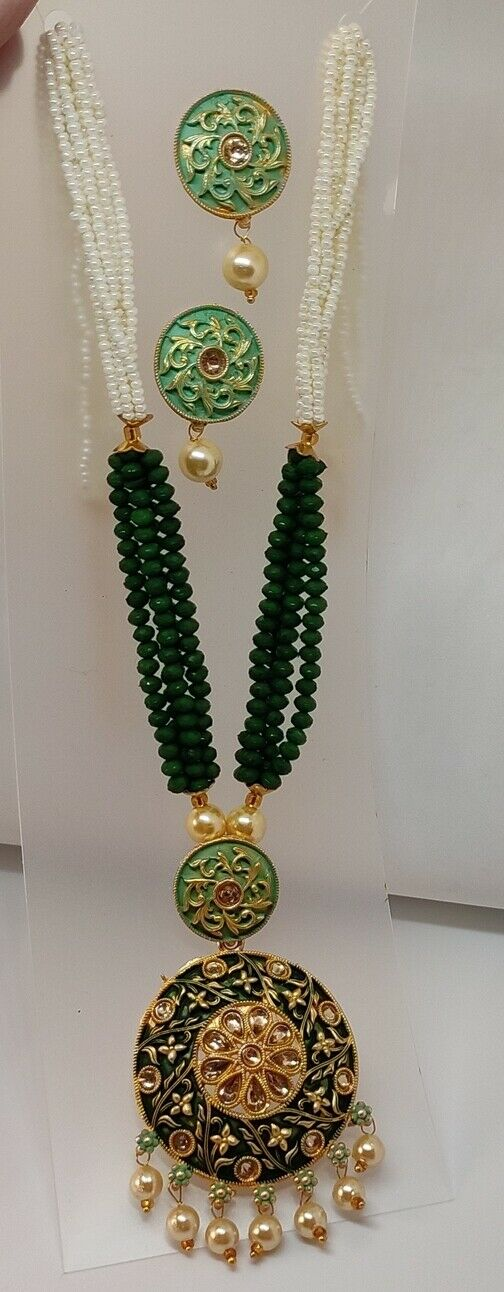 Multi Dark Green Indian Long Necklace Set Gold Plated Bridal Pearl Mala Set