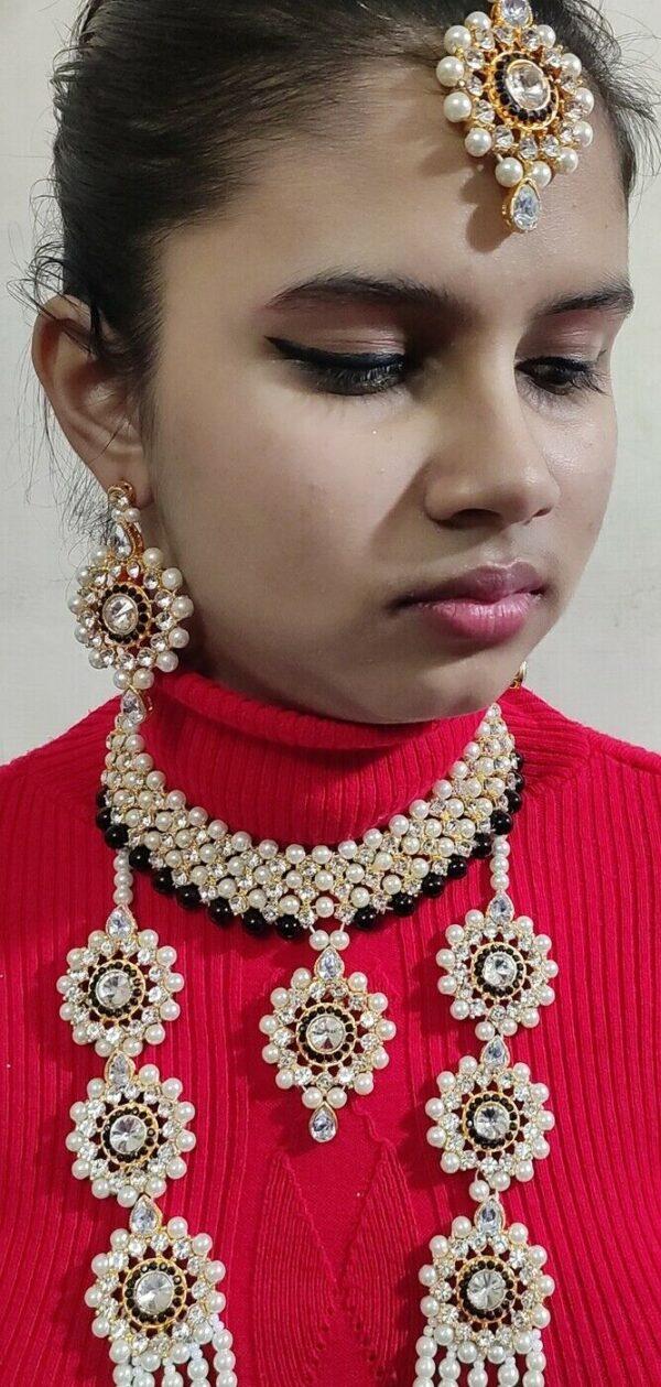Indian Bollywood Kundan Gold Plated Fashion Jewelry Rani Haar Pearl Necklace
