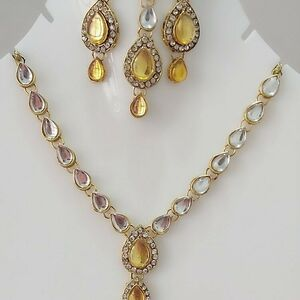 Indian Long Necklace Set Gold Plated Bridal Set Multi Color -D26