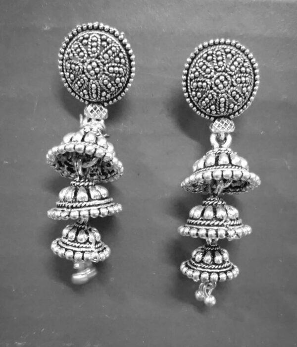 Oxidized Silver Plated Statement jhumka jhumki Light weight Earrings women