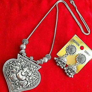 Fashion Silver Oxidized Women Lord Ganesha Jewelry Set Pendant Party Earrings...