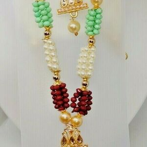 Multi Color Indian Long Necklace Set Gold Plated Bridal Pearl Mala Set - D11