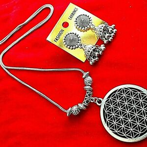 Pendant Round Chain Silver Oxidized Necklace Earrings Jewelry Set