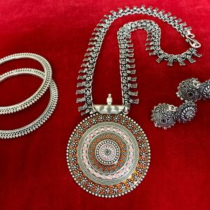earring bangle With necklace Turkish gypsy bohemian tribal jewelry necklace Set