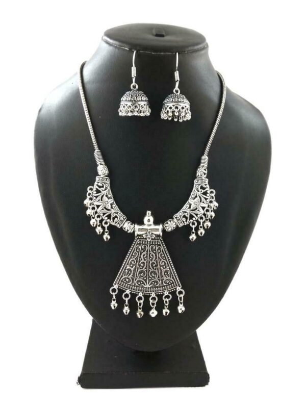 Indian Silver Plated Oxidized Chain Necklace with Matching earrings DESIGN1- PN1